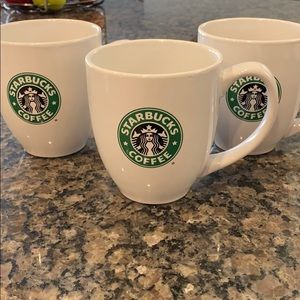 3 Starbucks Coffee Mugs White With Mermaid Label